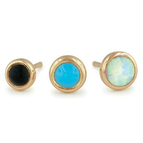 Nose - 18g Solid 14k Gold Bezel-set Cabochon By NeoMetal