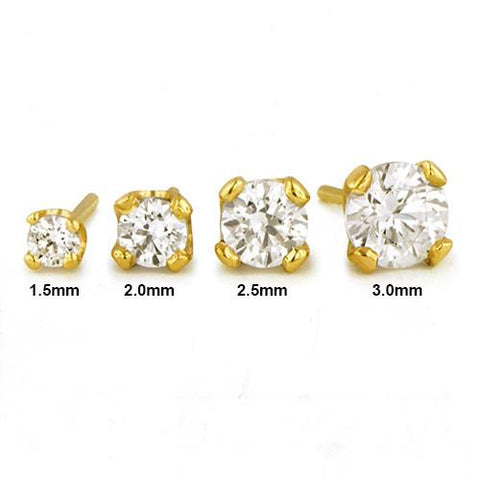 Nose - 18g Solid 14k Gold Prong-set CZ By NeoMetal