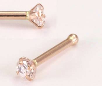 Rose 14k Gold Prong CZ Nose Bone