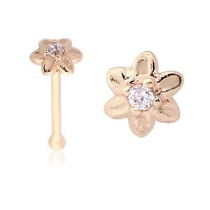 Nose - CZ Flower 14k Gold Nose Bone
