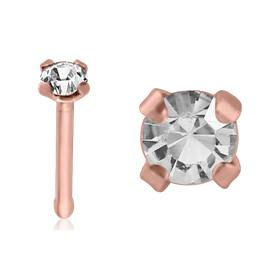 Nose - Rose Gold Plated Prong CZ Nose Bone
