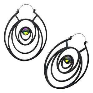 Peacock CZ Tunnel Hoop Earrings