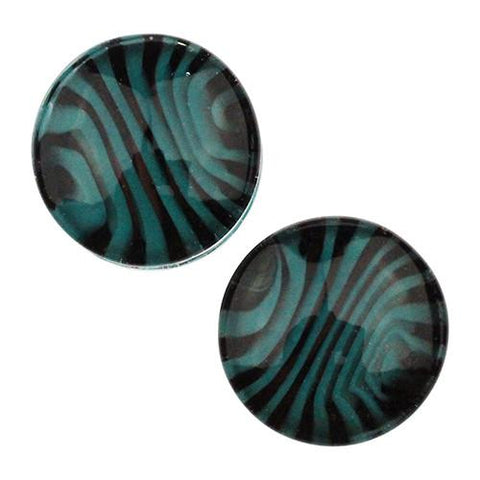 Plugs - Aqua & Black Tiger Stripe Plugs By Gorilla Glass