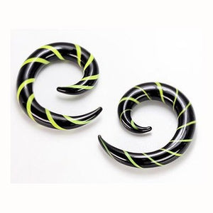 Black & Green Glass Spirals
