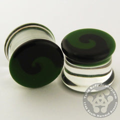Black & Green Swirl Plugs by Glasswear Studios