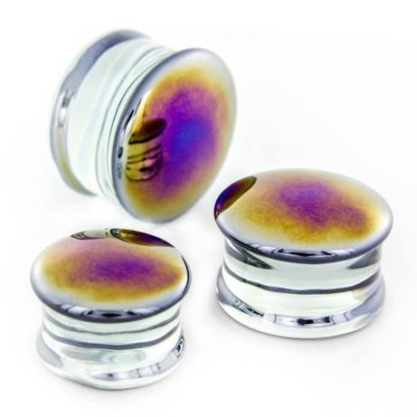 Black Oil Slick Glass Plugs