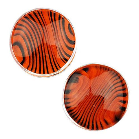 Plugs - Black & Orange Tiger Stripe Plugs By Gorilla Glass