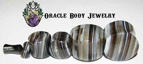 Black Tibetan Agate Plugs by Oracle Body Jewelry