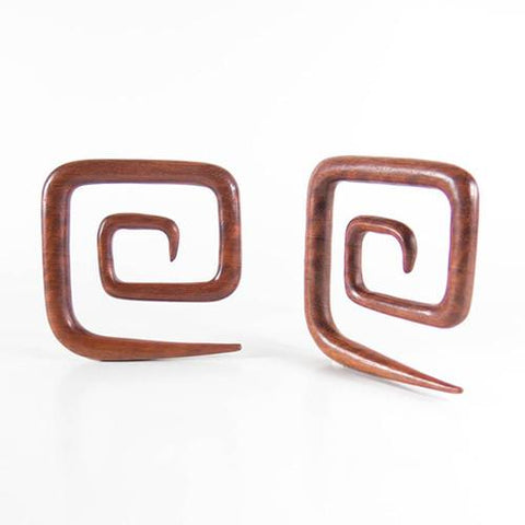 Plugs - Bloodwood Square Spirals By Siam Organics