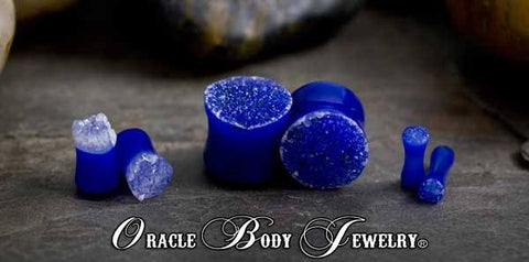 Plugs - Blue Agate Geode Plugs By Oracle Body Jewelry