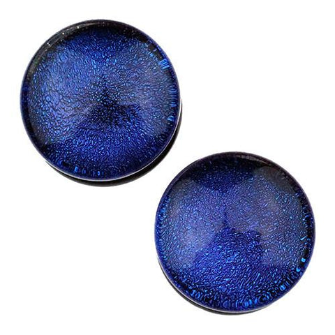 Plugs - Blue Dichroic Plugs By Glasswear Studios