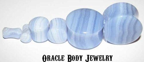 Blue Lace Agate Plugs by Oracle Body Jewelry