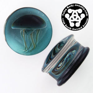 Blue Moon Jellyfish Plugs by Glasswear Studios