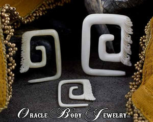 Bone Square Temple Spirals by Oracle Body Jewelry