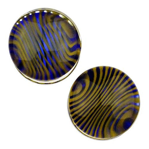 Plugs - Cobalt & Yellow Tiger Stripe Plugs By Gorilla Glass