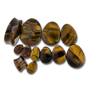 Convex Tiger Eye Teardrop Plugs
