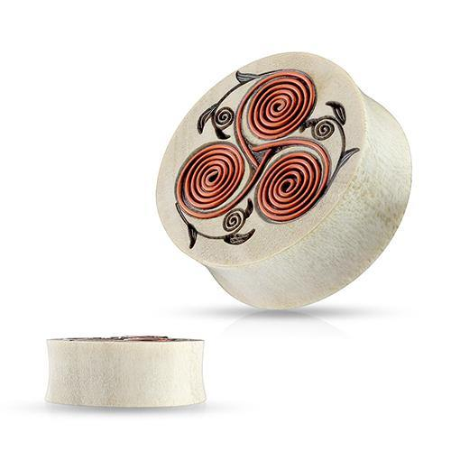 Plugs - Copper Floral Design Wood Plugs