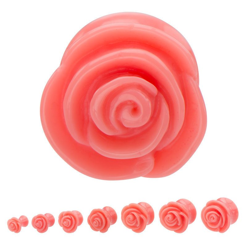 Coral Acrylic Rose Plugs