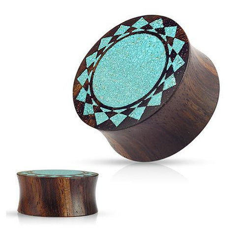 Plugs - Crushed Turquoise Sunburst Wood Plugs
