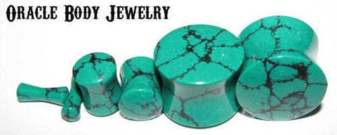 Plugs - Dark Green Spiderweb Turquoise Plugs By Oracle Body Jewelry