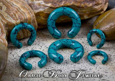 Plugs - Dark Green Spiderweb Turquoise Rings By Oracle Body Jewelry