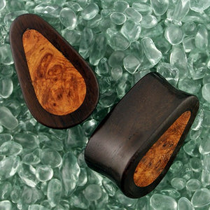 Dark Raintree & Burr Yew Teardrop Plugs by Siam Organics
