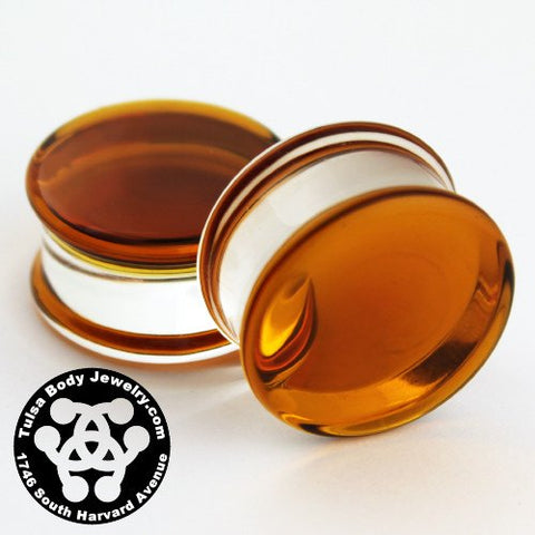 Amber Double Flare Plugs by Glasswear Studios