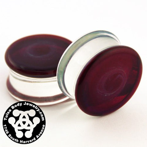Amber/Purple Double Flare Plugs by Glasswear Studios