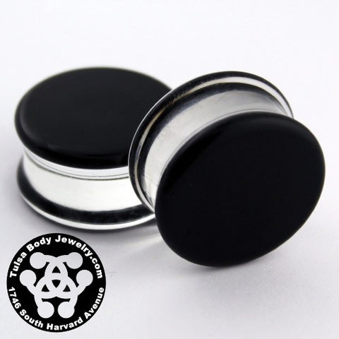 Black Double Flare Plugs by Glasswear Studios