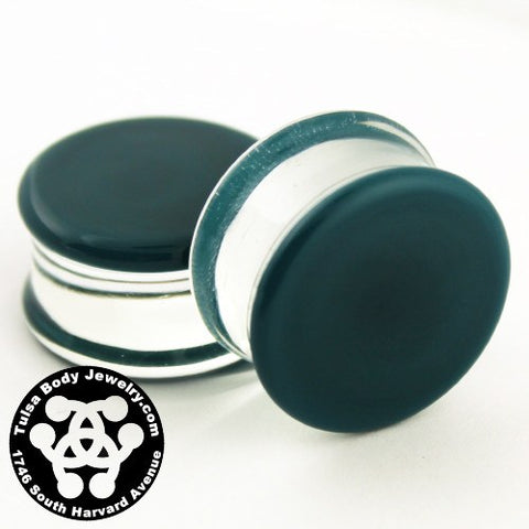 Dark Aqua Double Flare Plugs by Glasswear Studios