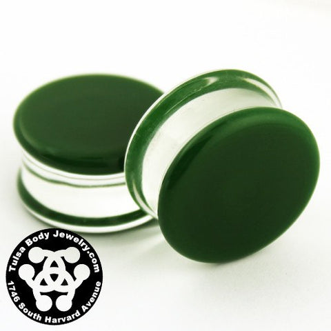 Green Double Flare Plugs by Glasswear Studios