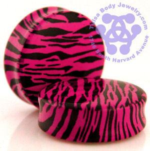Double Flare Pink Zebra Plugs