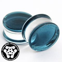 Translucent Sparkle Blue Double Flare Plugs by Glasswear Studios