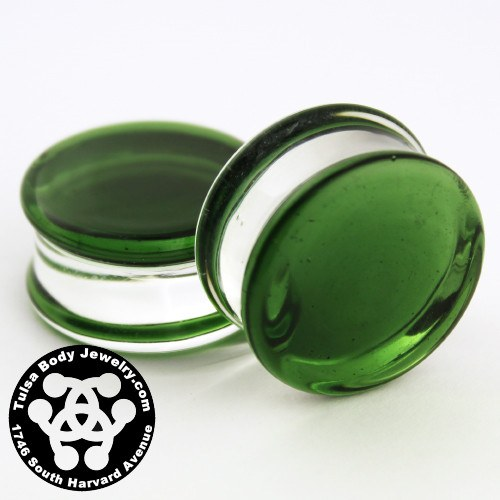 Translucent Green Double Flare Plugs by Glasswear Studios