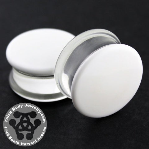 White Double Flare Plugs by Glasswear Studios