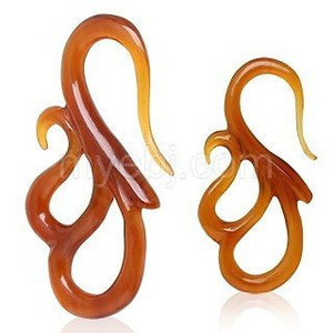 "Double ""S"" Shaped Amber Buffalo Horn Hooks"