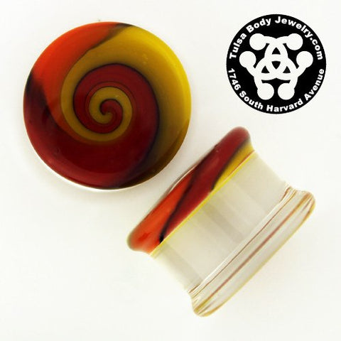 Fire Swirl Plugs by Glasswear Studios