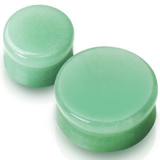Flat Green Aventurine Plugs