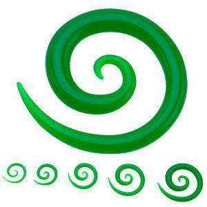 Plugs - Green Glow-in-the-Dark Acrylic Spirals