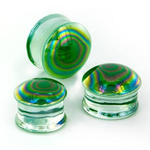 Green Oil Slick Glass Plugs