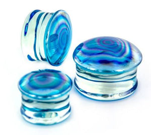 Light Blue Oil Slick Glass Plugs