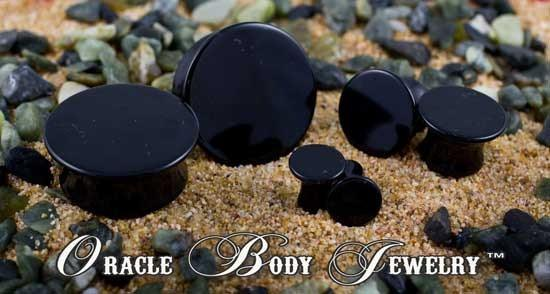 Mayan Flared Black Obsidian Plugs by Oracle Body Jewelry