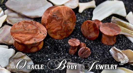 Mayan Flared Crazy Lace Agate Plugs by Oracle Body Jewelry