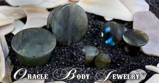 Mayan Flared Labradorite Plugs by Oracle Body Jewelry