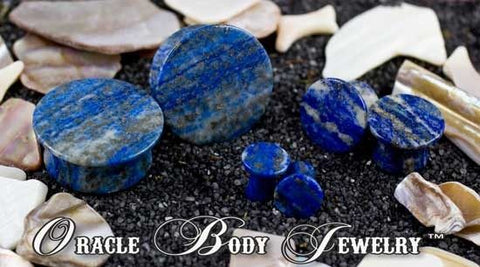 Mayan Flared Lapis Plugs by Oracle Body Jewelry