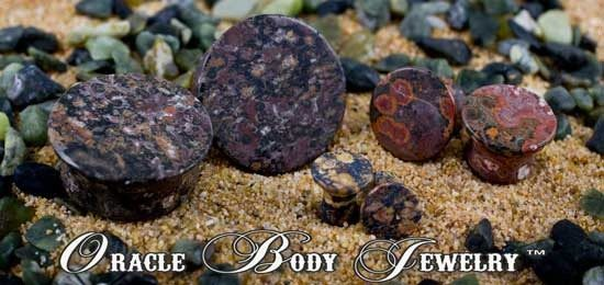 Mayan Flared Leopardskin Jasper Plugs by Oracle Body Jewelry