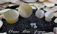 Mayan Flared Montana Agate Plugs by Oracle Body Jewelry