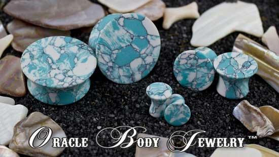 Mayan Flared Ocean Wave Turquoise Plugs by Oracle Body Jewelry