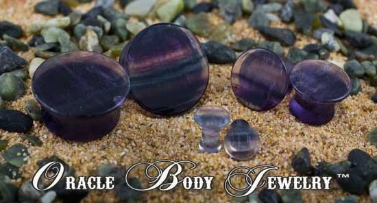 Mayan Flared Rainbow Fluorite Plugs by Oracle Body Jewelry