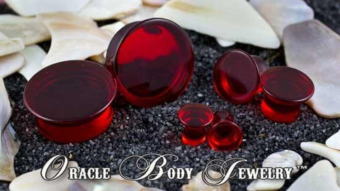 Mayan Flared Red Quartz Plugs by Oracle Body Jewelry